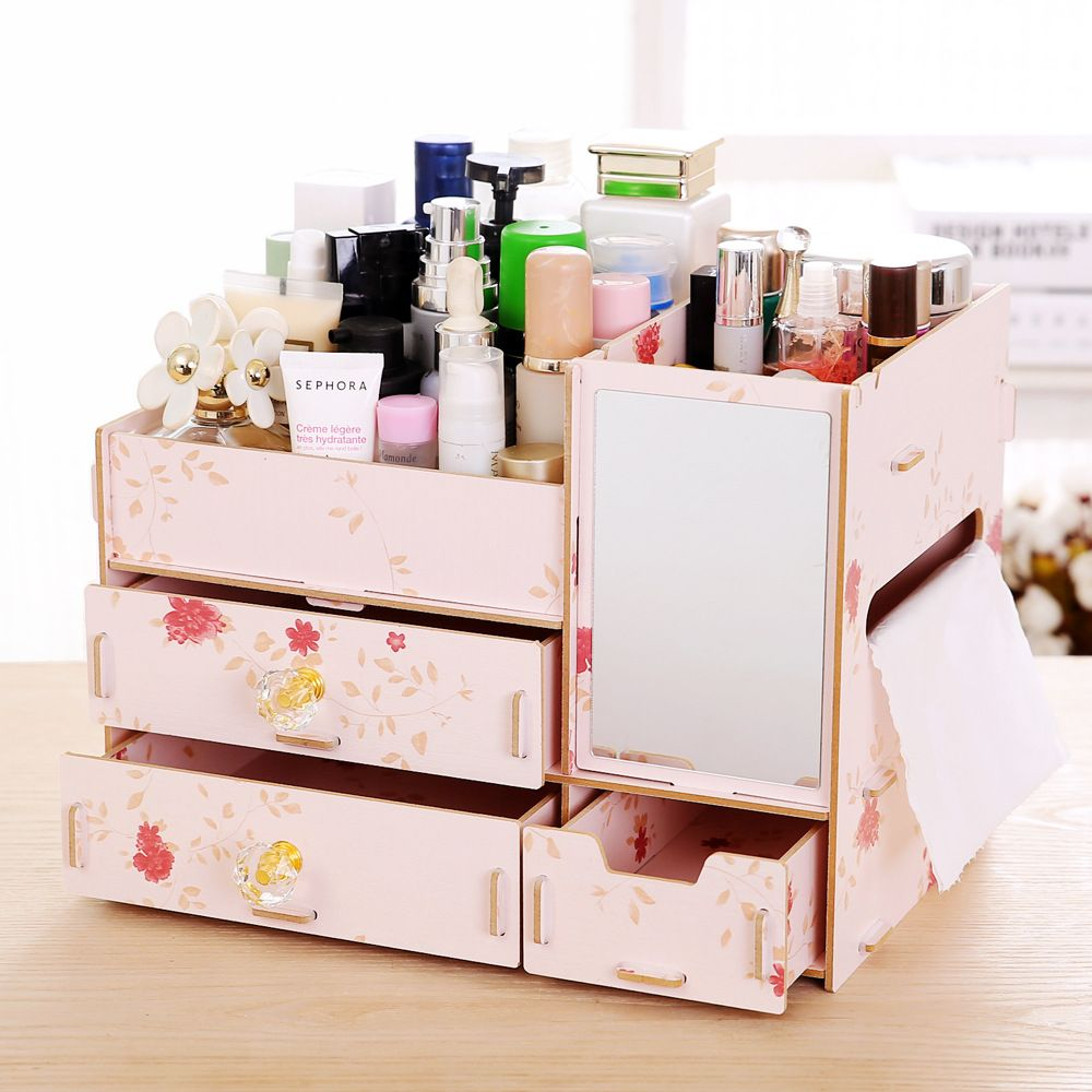 New L Size DIY Wood Cosmetic Organizer with Mirror Tissue Box 31 ...