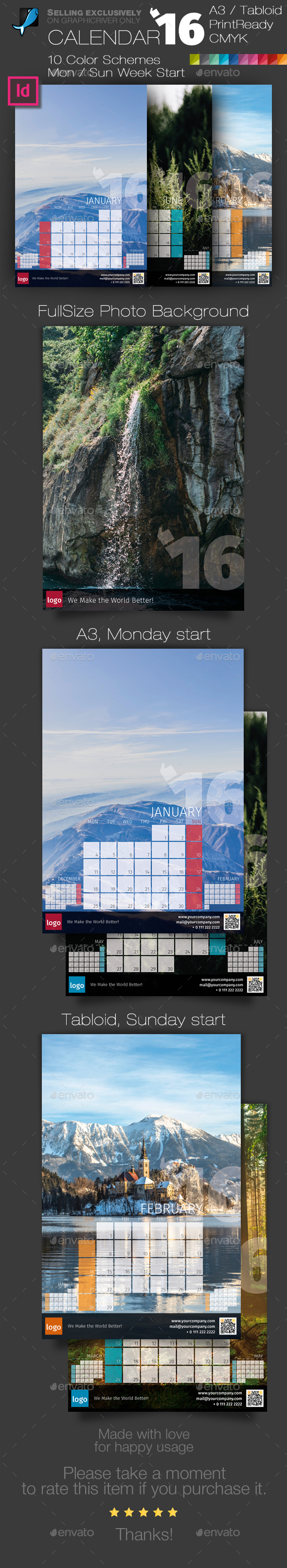Wall Calendar 2018 with Full Size Photo Background — A3 and Tabloid ...