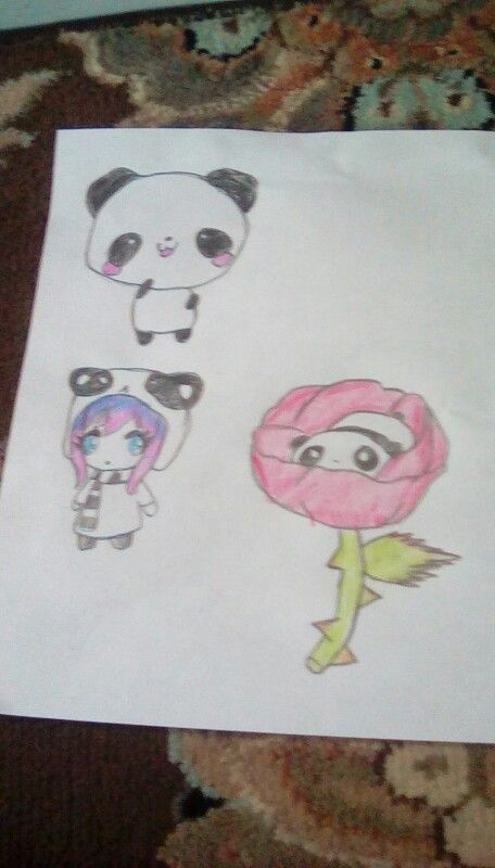 I am so happy how these drawings turned out!! Drawn for Jeri Fletc (go follow her!), there is a chibi panda, top left, a chibi panda girl, bottom left, and a chibi panda in a rose, bottom right. Drawn by me!