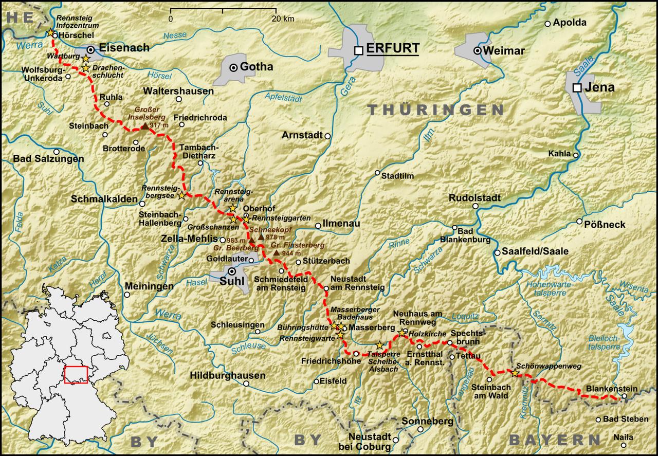 Karte Thüringen.Karte Verlauf Rennsteig Thüringer Wald Wikipedia Germanic