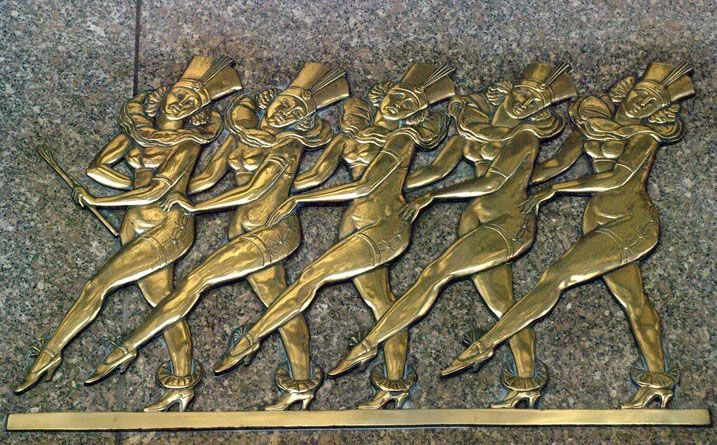art d co radio city music hall new york 1932 fa ade plaque bronze 39 les rockettes. Black Bedroom Furniture Sets. Home Design Ideas