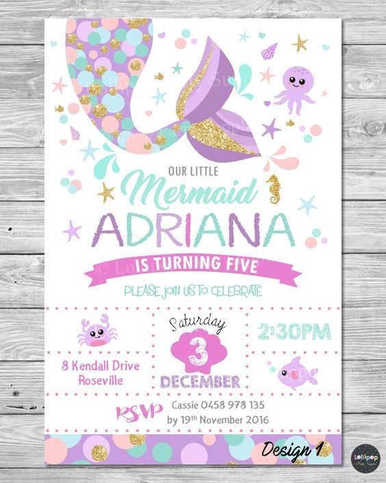 Details About Little Mermaid Invitations Invite 1st First