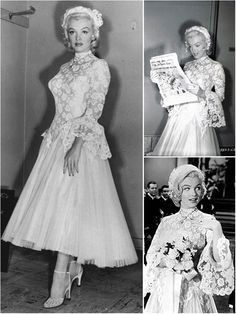 Marilyn Monroe S Wedding Dress In The Film Men Prefer Blondes 1953 This Beautiful Floral Lace Dress F Marilyn Monroe Wedding Gentlemen Prefer Blondes Marilyn
