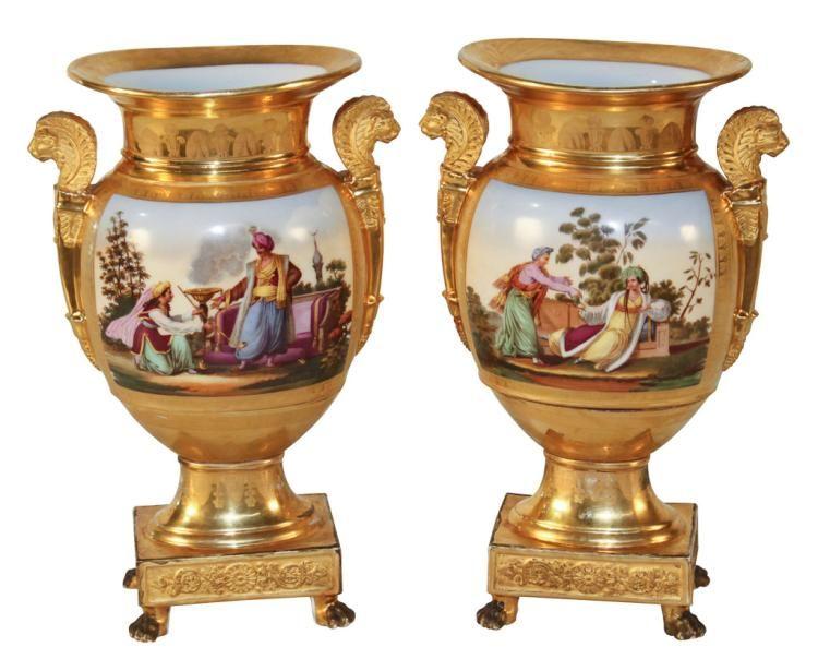 Fine Pair Of French Old Paris Vases Perfect Paris Porcelain