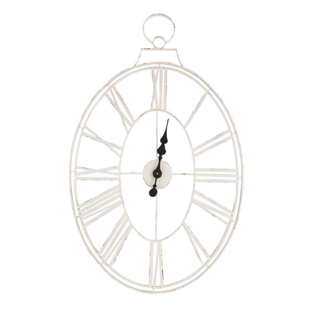White Wire Metal Clock Metal Clock Rustic Vintage Decor Metal