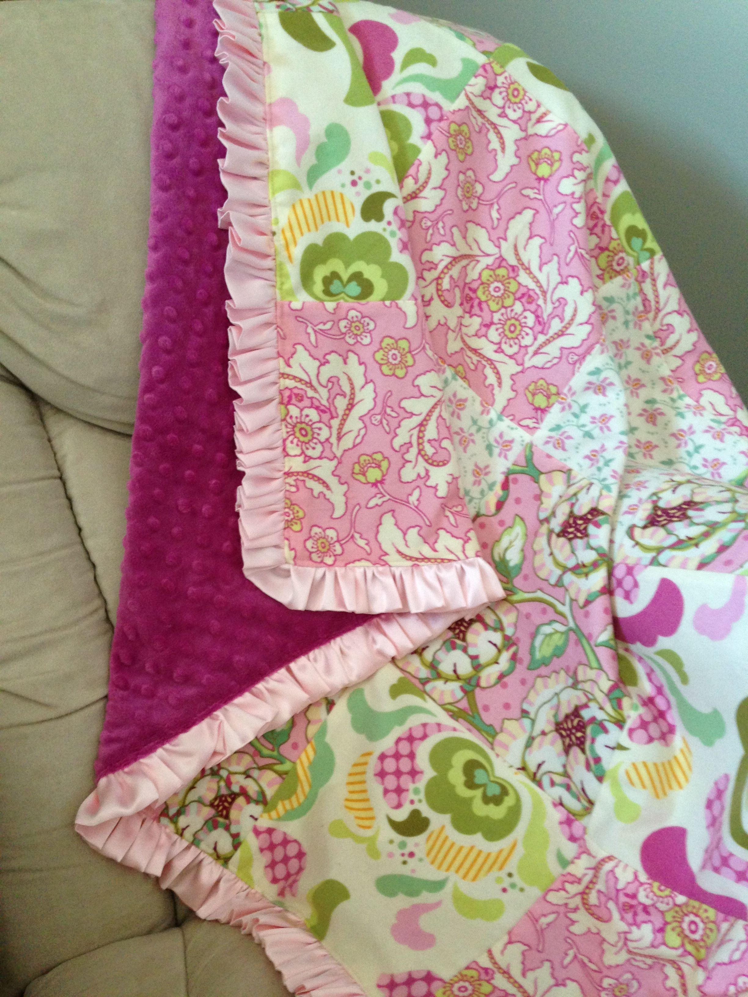 Minky Flannel Quilt With Satin Ruffle Trim Sew What