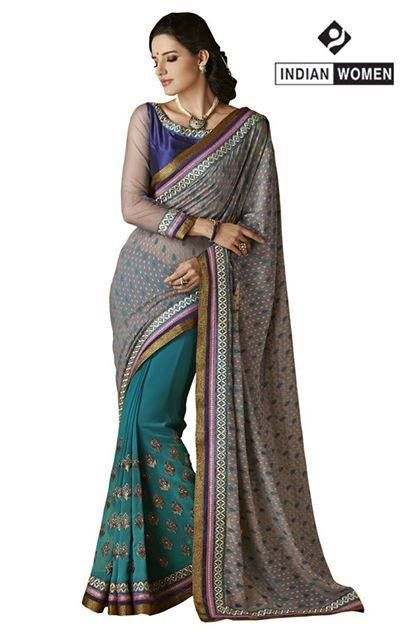 """#Gorgeous Grey !! #Heritage-3""""  #Grey Brasso Saree designed with Resham Embroidery And Lace Border. As shown Violet Brocade Blouse fabric is available.  INR : 2700 Only Grab @ http://goo.gl/PJx9pg"""