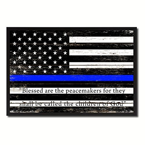 Law Enforcement Thin Blue Line USA Flag Vintage Canvas Print with ...