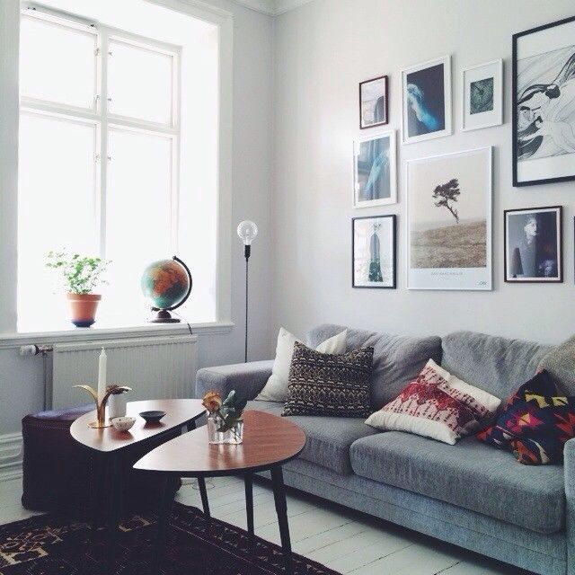 Grey Teak Coffee Table: Grey Sofa, Art Wall, Ikea/teak Coffee Table