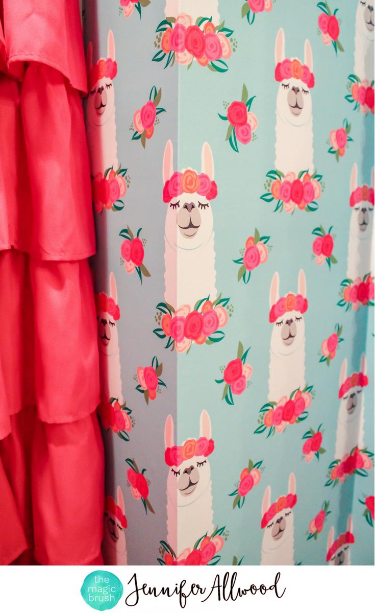 Llama decor llama girls bathroom wallpaper our bedroom