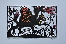 Goller, Hedwig: Original - Scherenschnitt. Rotkäppchen und der Wolf. Signiert