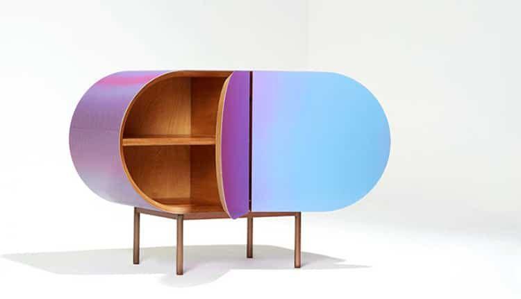 Fonction Meubles des meubles avec une surface lenticulaire qui changent de couleur en