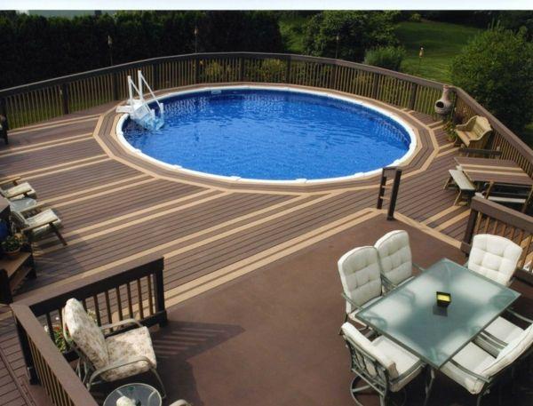 moderne-rond-piscine-hors-sol-en-bois Piscine Pinterest - piscine hors sol beton aspect bois