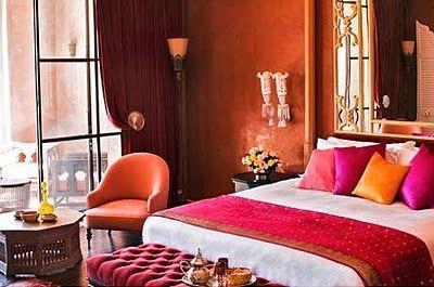 Orange interiors. Colorful Moroccan bedroom #orange #pink ...