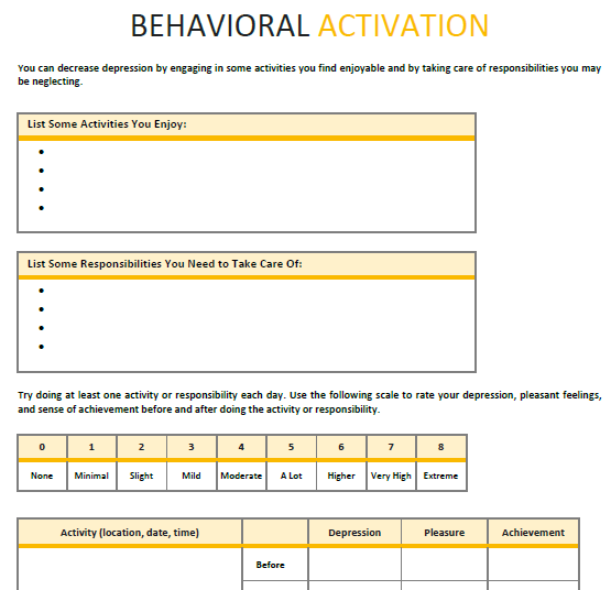 BehavioralActivation Psychotherapy Worksheet Template  Therapy