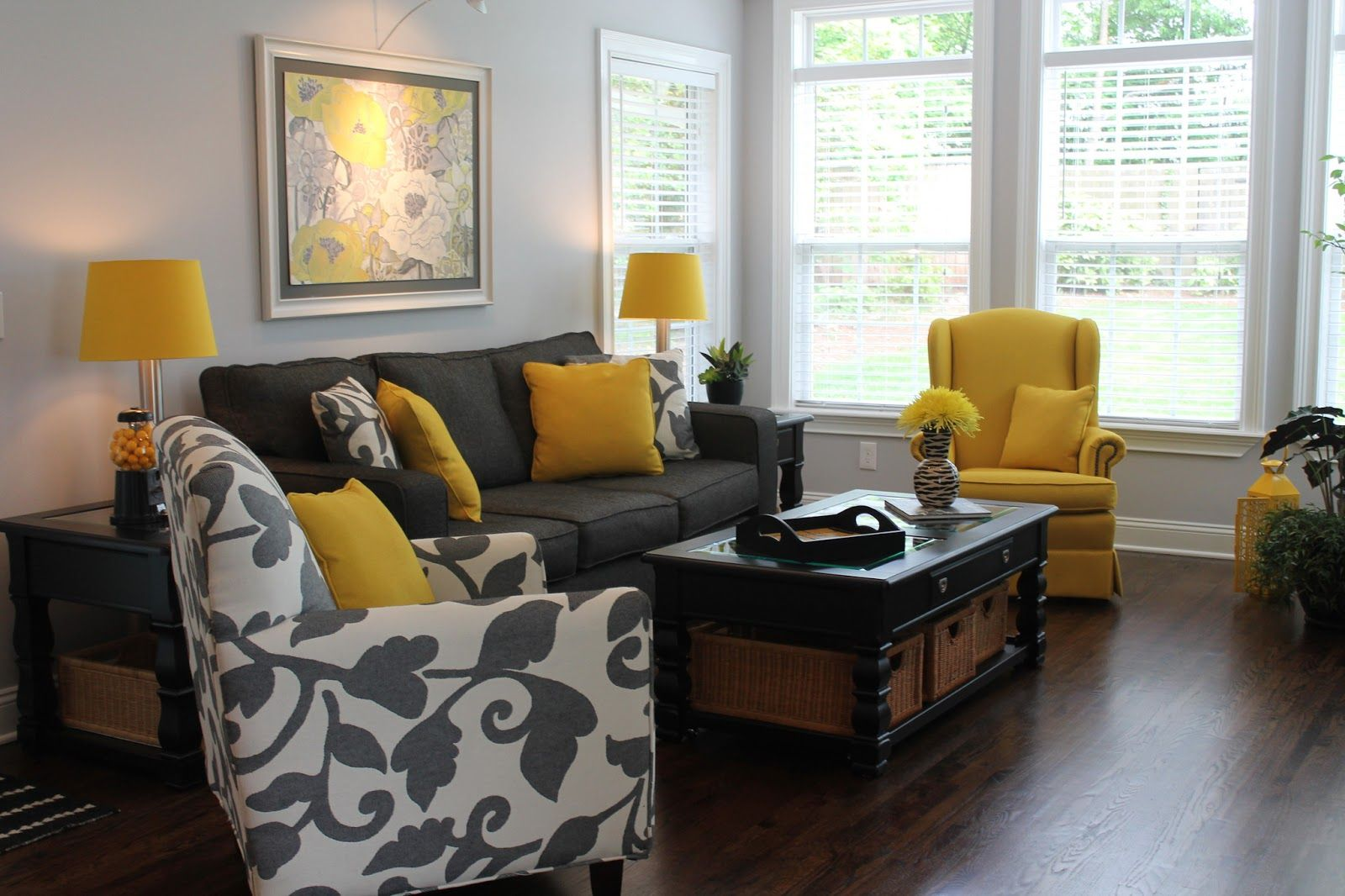 Best Grey And Yellow Family Room With Wooden Floor Ideas 640 x 480