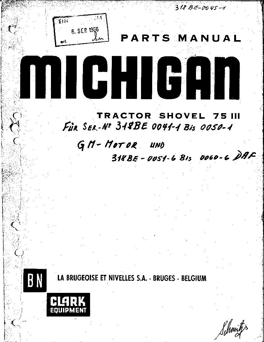 MICHIGAN 75III 5011 WHEEL LOADER Parts Manual PDF Download