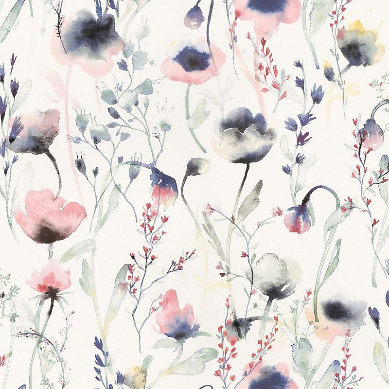 Sandberg Lo Multi Wallpaper 40 Off Samples Floral Wallpaper Floral Watercolor Blue Wallpapers