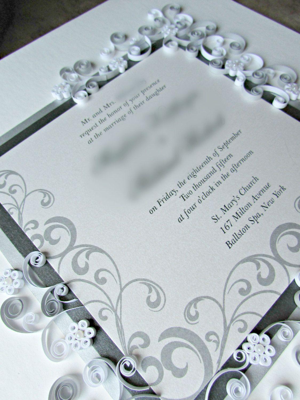 Custom Wedding Gift / Framed & Quilled Wedding Invitation / Couple\'s ...