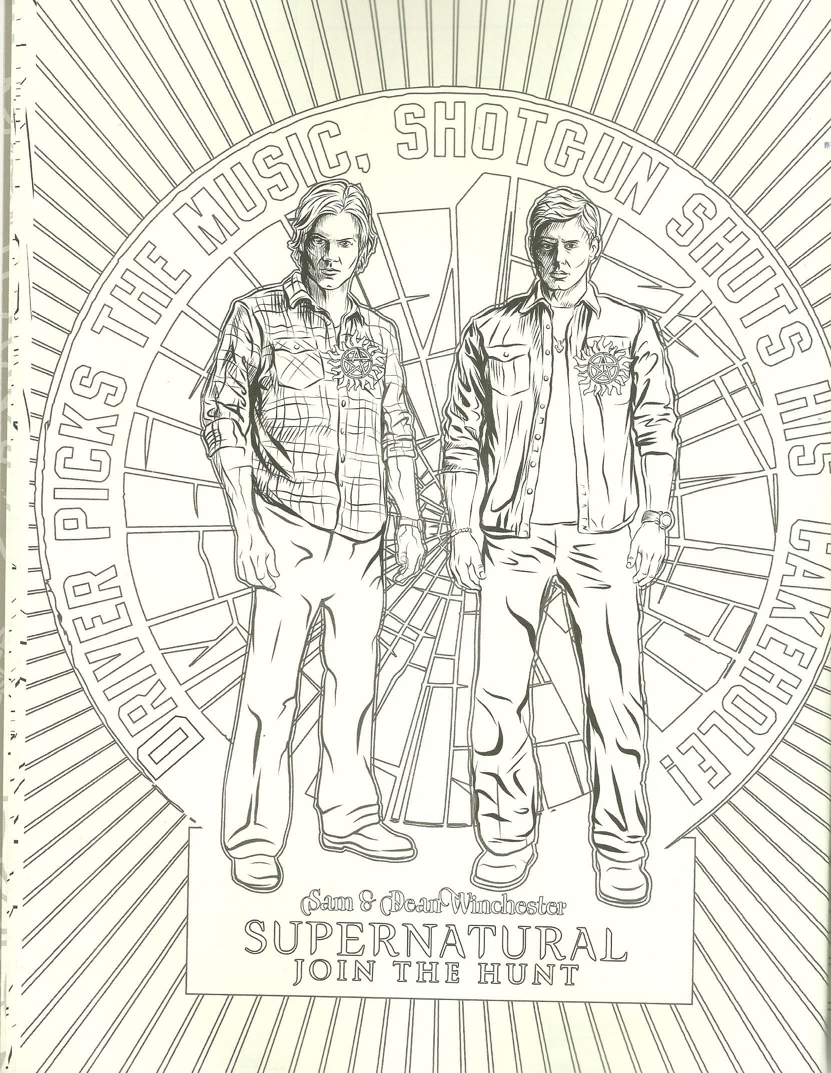 Sam And Dean Coloring Page Coloring Pages Coloring Books Black And White Sketches