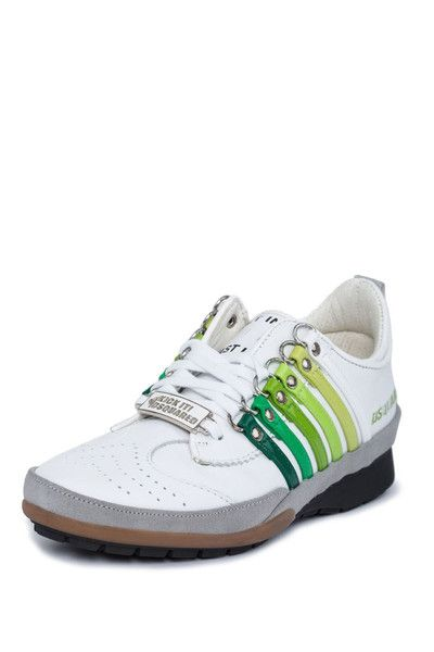 Dsquared2 White & GreenLeather Fashion Sneakers | Schuhe