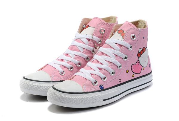 9e8aa43709ad Hello Kitty Converse All Star High Tops Pink Canvas Shoes