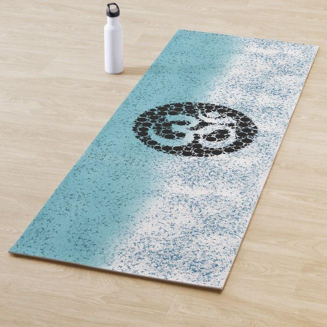 Blue Speckle Om Yoga Mat Zazzle