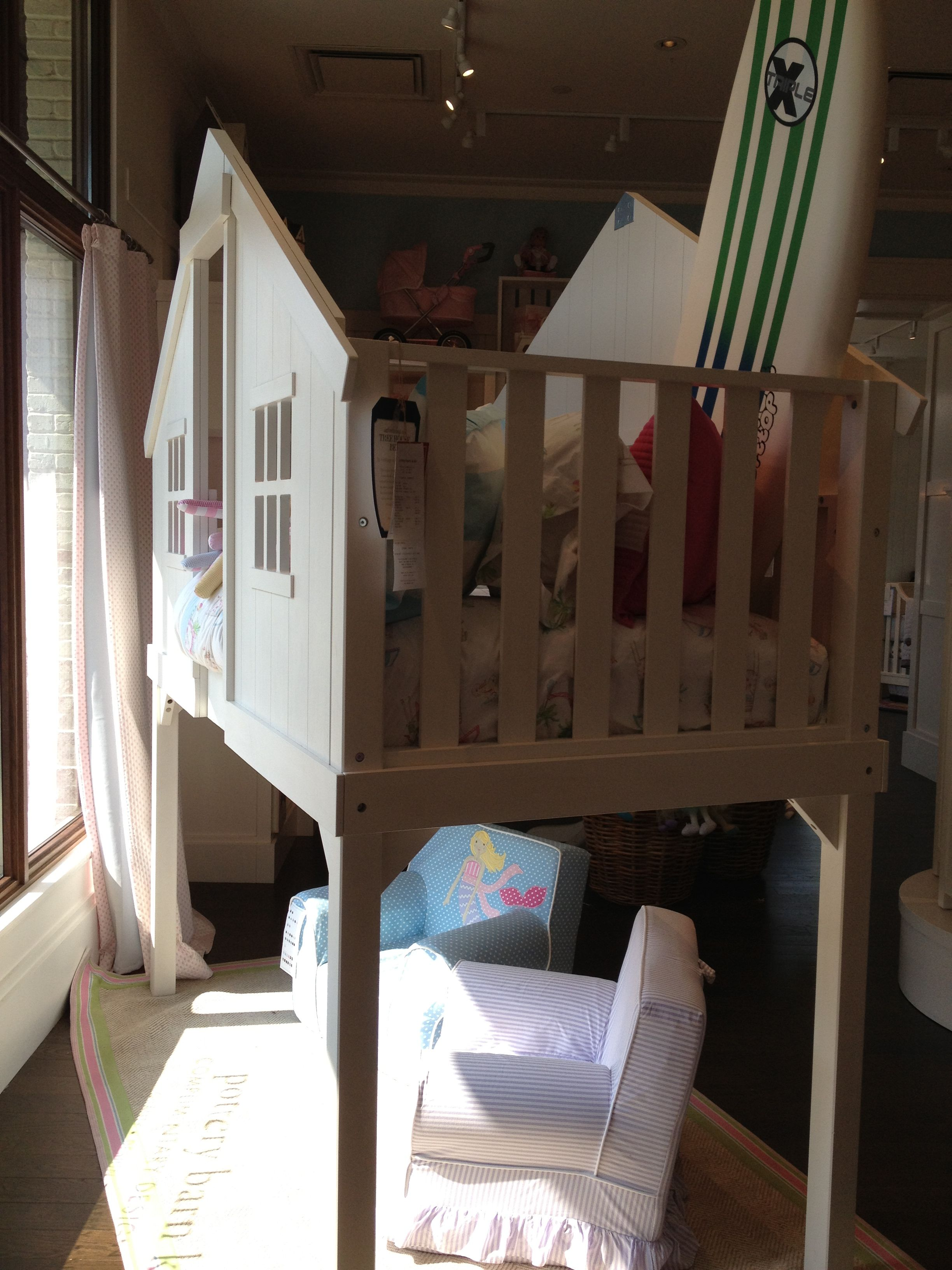 Pottery barn kids camp bed - Pottery Barn White Treehouse Bunk Bed Floor Model Sale 896