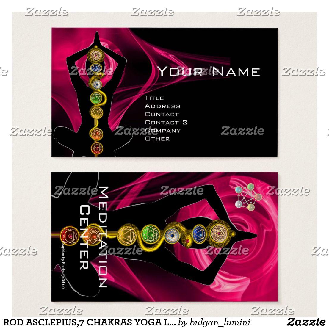ROD ASCLEPIUS,7 CHAKRAS YOGA LOTUS POSE Pink Black Business Card