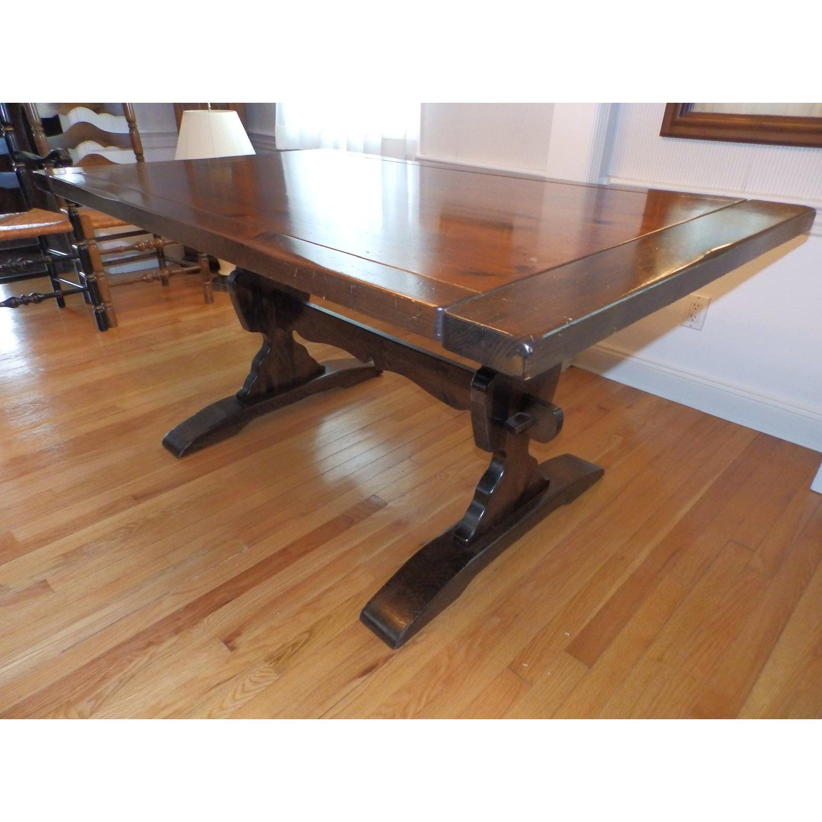 20th Century Early American Ethan Allen Dark Pine Trestle Dining