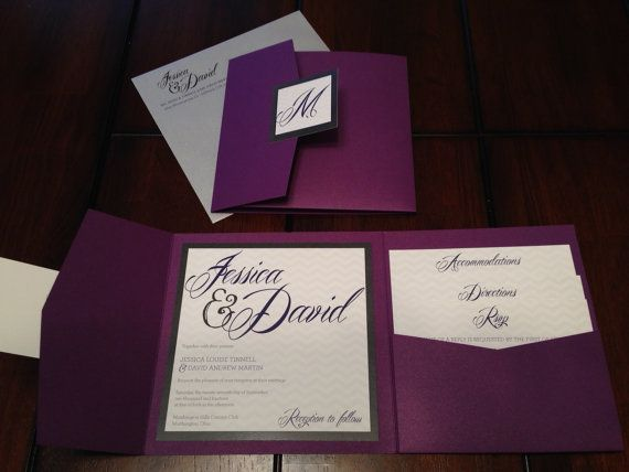 Purple and Silver Glitter Custom Pocket Wedding Invitation Suite - invitaciones de boda elegantes