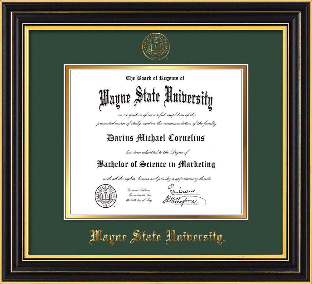 Image of Wayne State University Diploma Frame - Satin Black - w ...