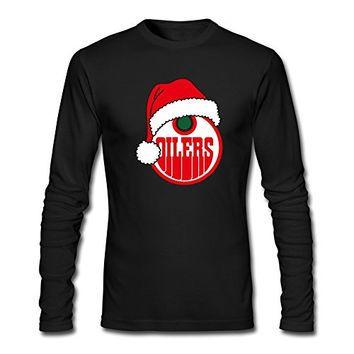 KR Men's 2016 Christmas Hat Edmonton Oilers Logo Black T-shirt