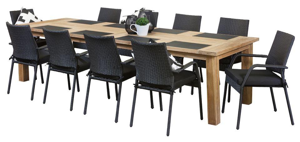 Teak Outdoor Dining Sets Stanford Black 10 Seater Recycled Teak