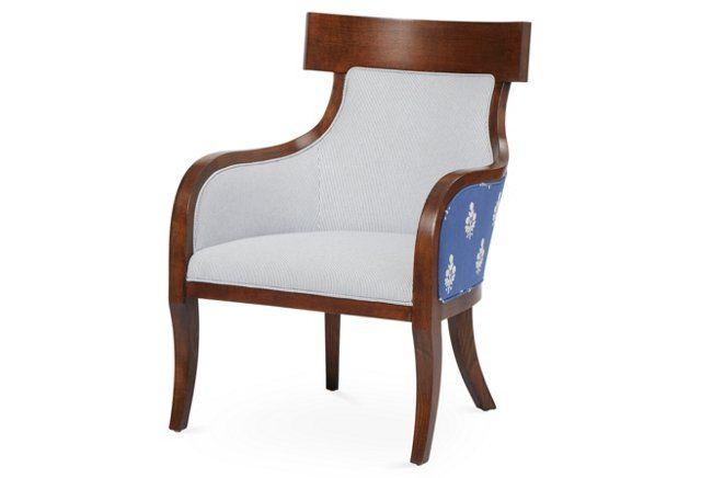 Sylvia Chair, Bluebell/Stripe