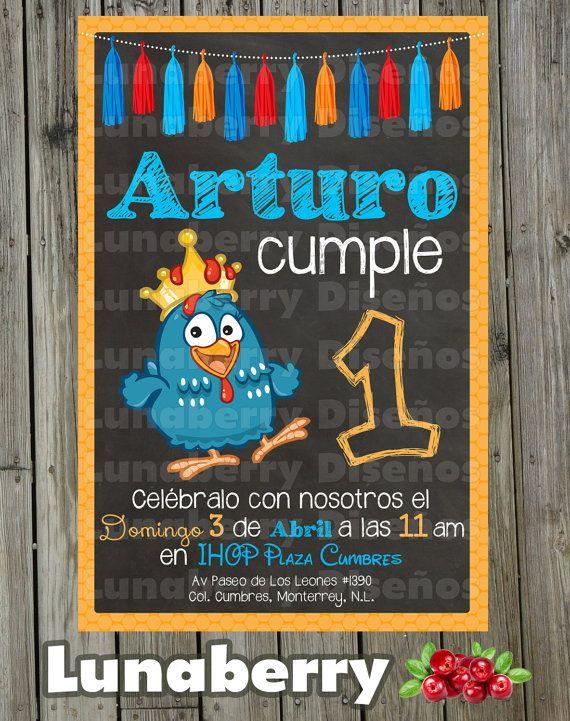 Invitación Estilo Pizarrón Pizarra De Cumpleaños Gallina