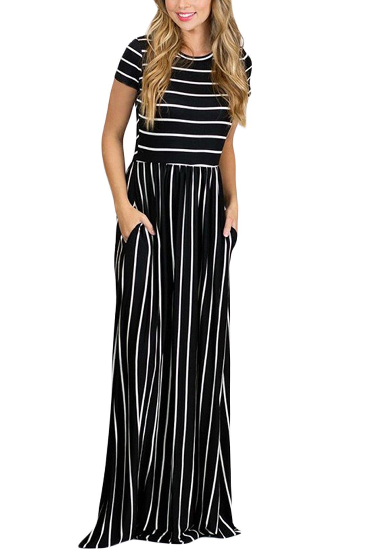 White black striped short sleeve maxi dress striped shorts maxi