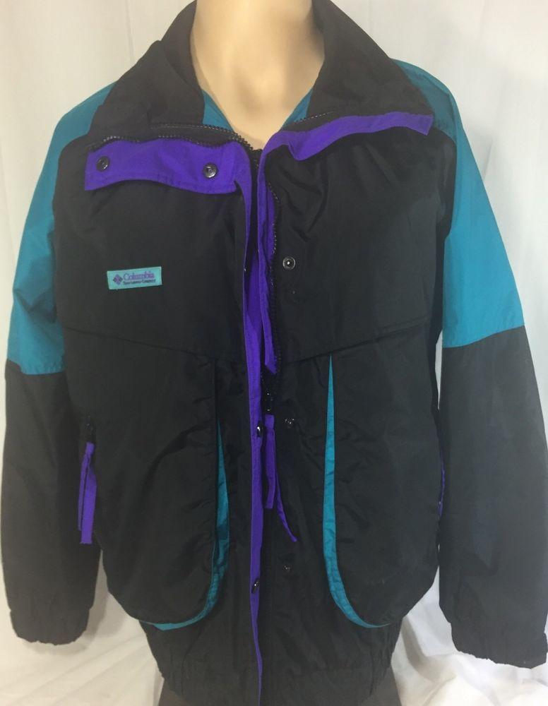7aeb0a3ca00a93 Columbia Powder Keg Black Teal Purple Ski Jacket Coat Women s Large Vintage   Columbia  BasicJacket