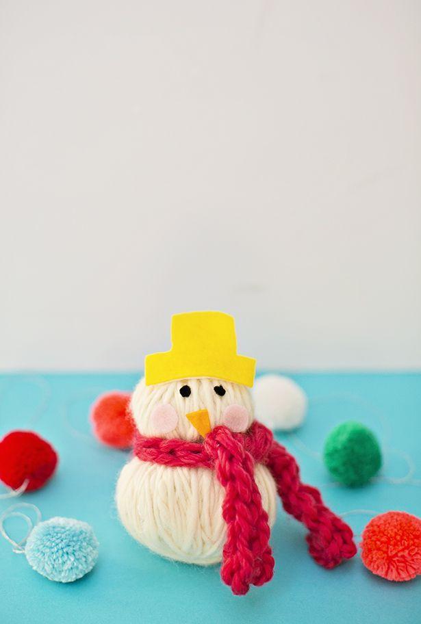 Easy No Sew Yarn Snowman Softie Diy Inspirations Winter Crafts