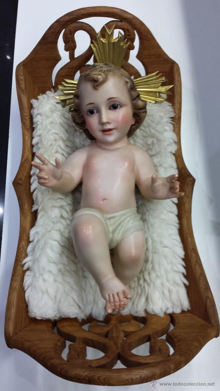 ca4b7ae6b3a NIÑO JESÚS EN CUNA DE MADERA TALLADA