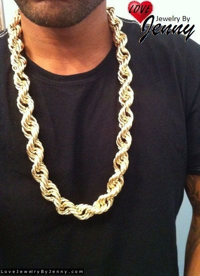 d5a078395ab4d 14K Gold Overlay 20 mm Dookie Rope Chain Heavy Necklace - 30