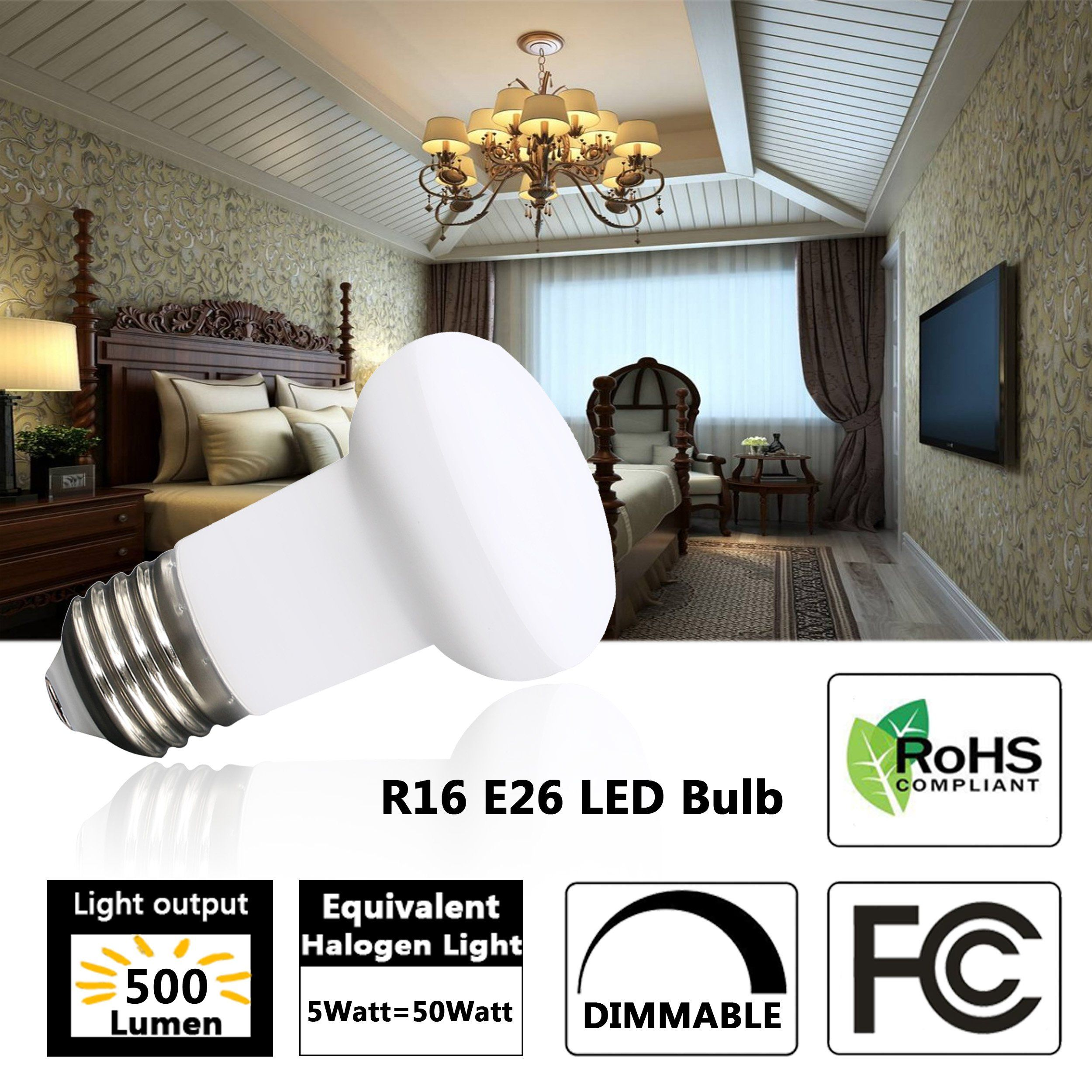 40 Watt R16 Mini Reflector Flood Light Bulbusing Only 5 Wattmedium Basee26 3000k Soft White Dimmable Edison Bulb 120 Volt 500 Lumens6 Pac