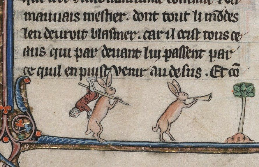 Some medieval rabbits up to no good. From: Le livre de Lancelot du Lac & other Arthurian Romances, Northern France 13th century. Beinecke, MS 229, fol. 94v.
