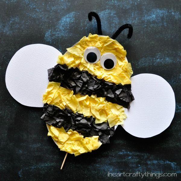 Tissue Paper Ladybug Kids Craft  With Free Pattern