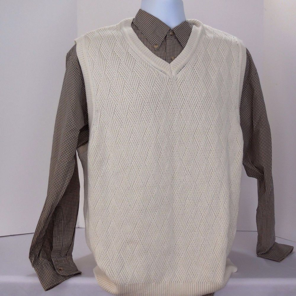 St. John's Bay Mens XL 100% Cotton White Cream Sweater Vest ...