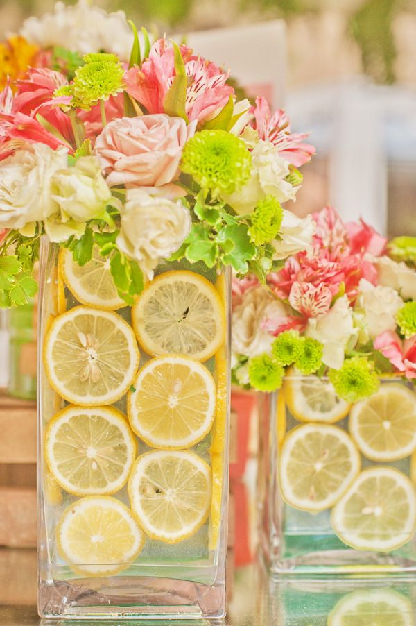 Pink Lemonade Birthday Party Centerpieces, Lemonade and Lemon slice