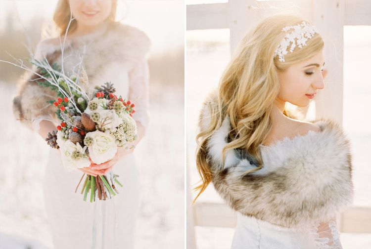 A Beautiful Bride in the Snow | Fab mood #winterwedding #snowwedding