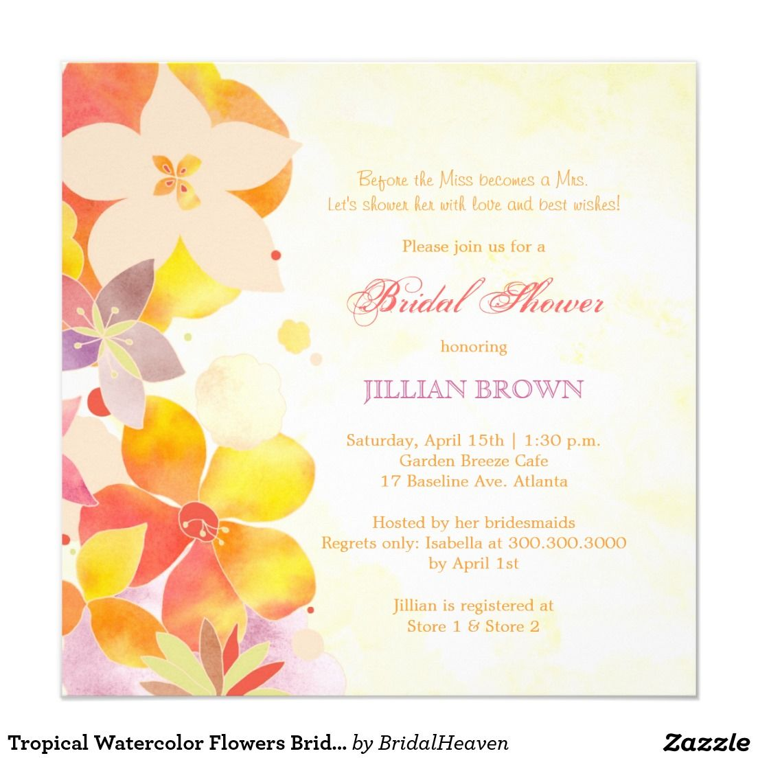 Tropical watercolor flowers bridal shower invitation wedding