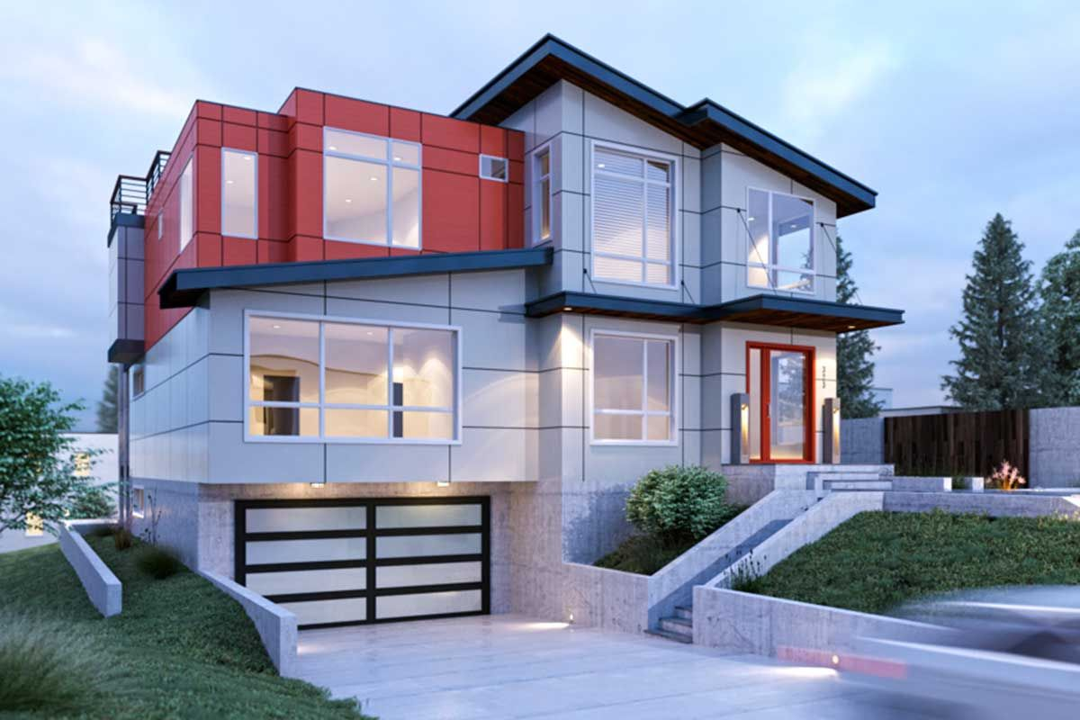 Plan 666031raf Contemporary For A Sloping Lot Contemporary House Plans Modern Style House Plans House Plans