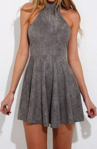 90d8d2e142b A-Line High Neck Sleeveless Lace-Up Grey Suede Homecoming Dress TR0123